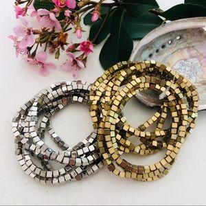 ⭐️ GANZ Cube Gold Silver Arm Candy Bracelet Stack